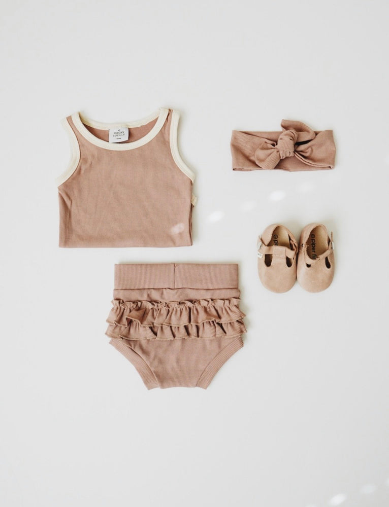 Ribbed Ruffle Bloomer // PALE MAUVE