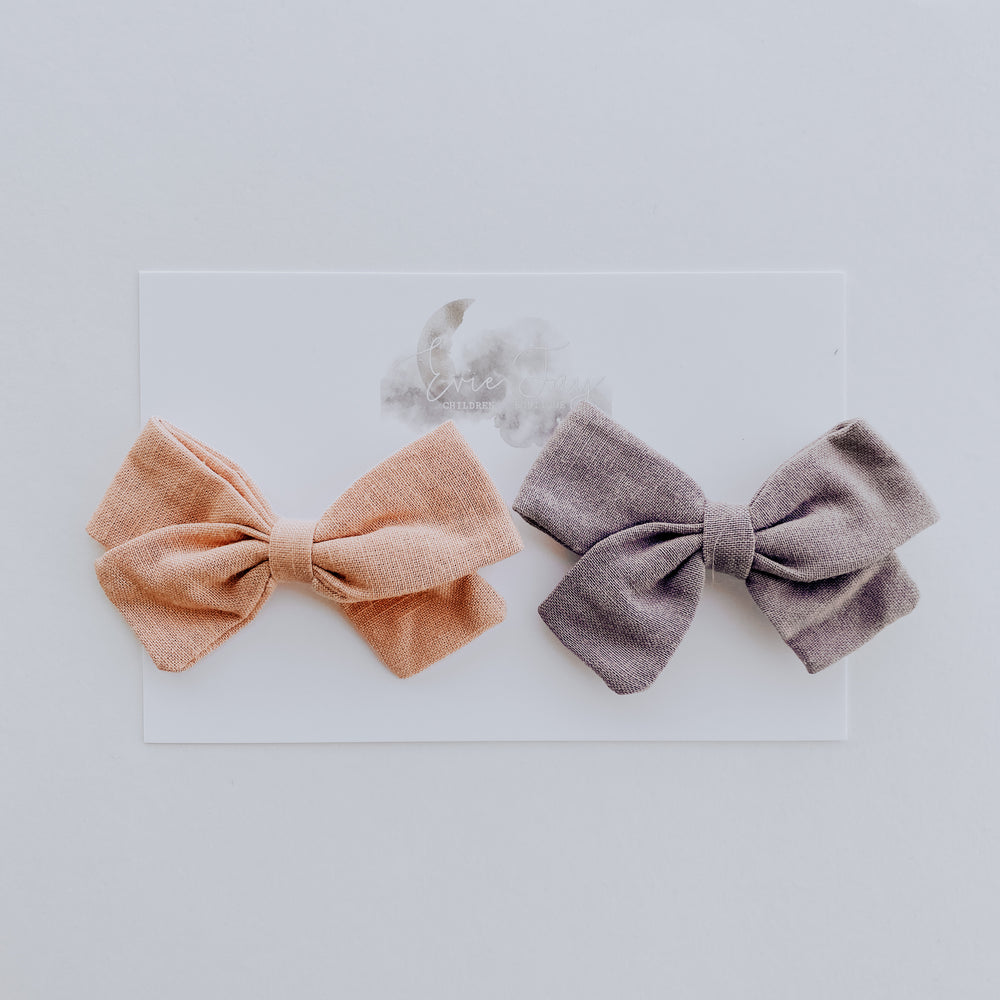 2 Pack Linen Bow Clips // Blush + Lavender