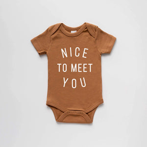 "Load image into Gallery viewer, ""Nice to Meet You"" Bodysuit // CAMEL"