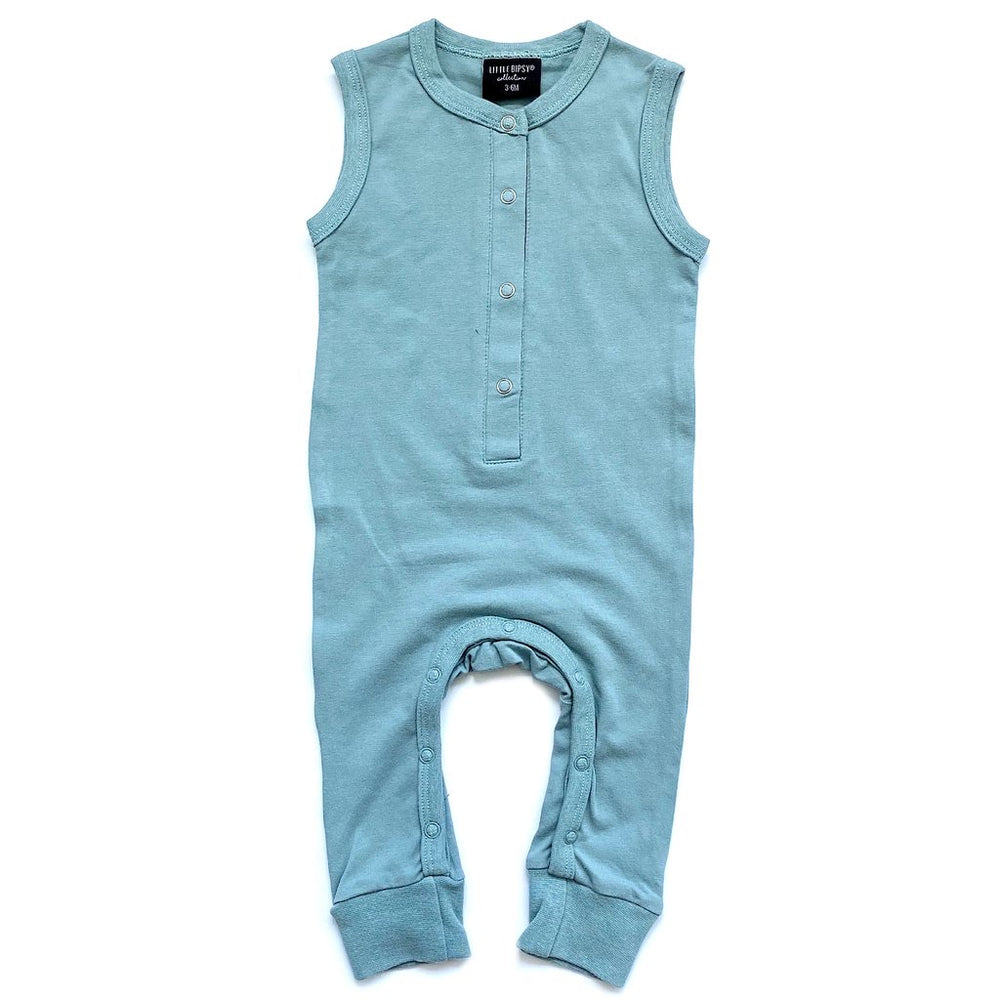 Sleeveless Snap Romper // Ash Blue // 6-9 Month