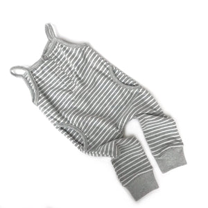 Tank Stripe Romper // Grey