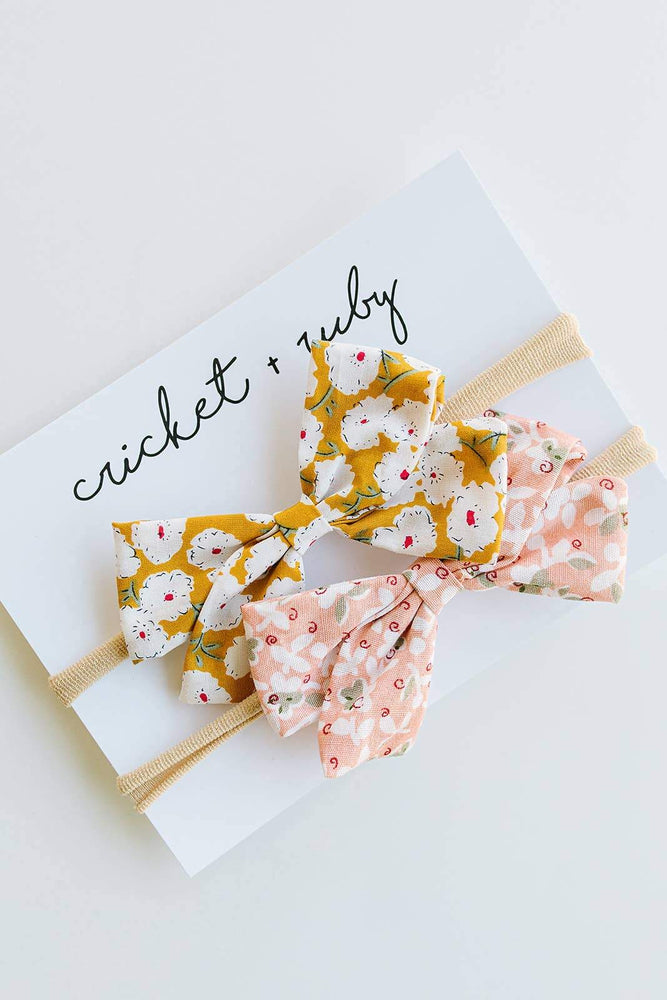 2 Pack Linen Bow Headband // Blush & Mustard Floral