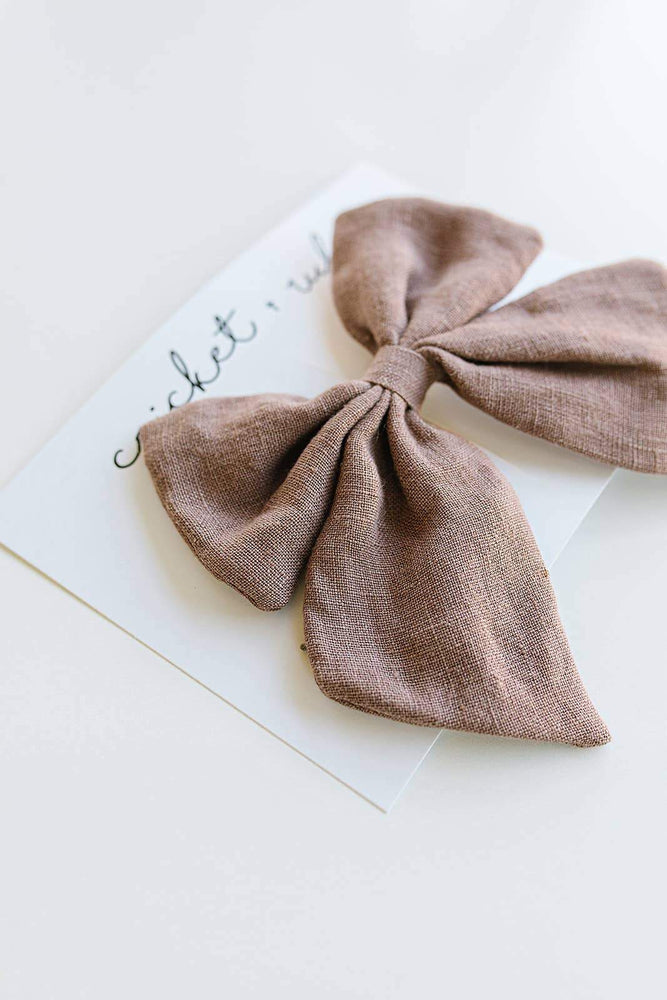 Load image into Gallery viewer, Linen Bow Clip // Mauve
