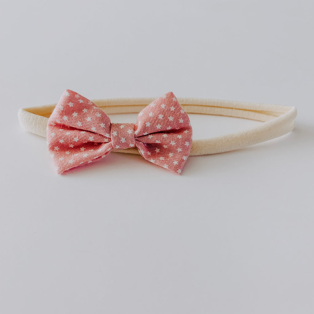 Star Bow Headband // Rose & White