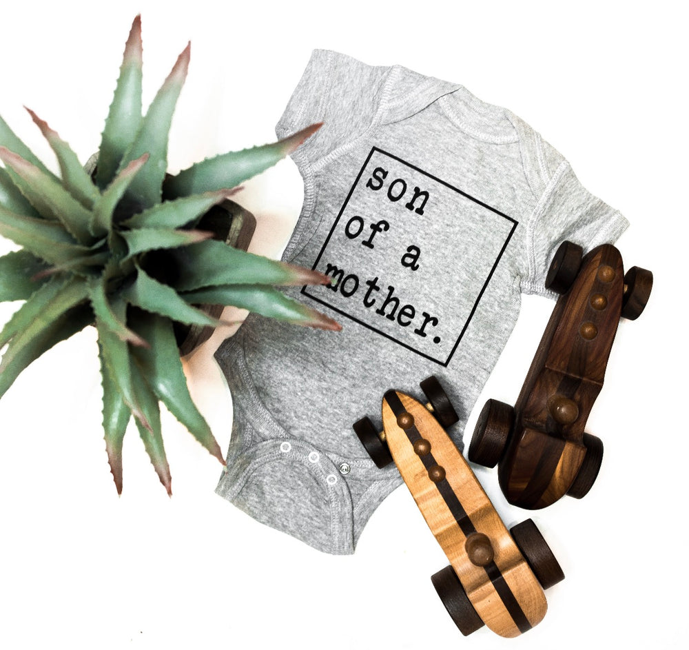 """Son of a Mother"" onesie // Grey"