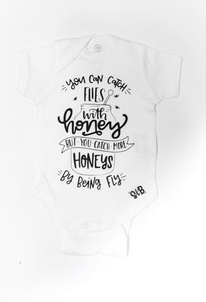 "6 MONTH // ""Catching Honeys"" onesie // WHITE (1 left)"