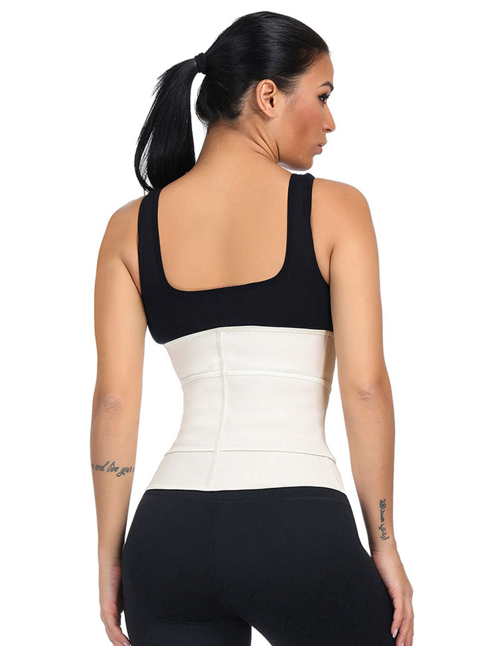 Curvyfeel 7 Steel Bones Sticker Zip Latex Waist Slimmer Plus Size