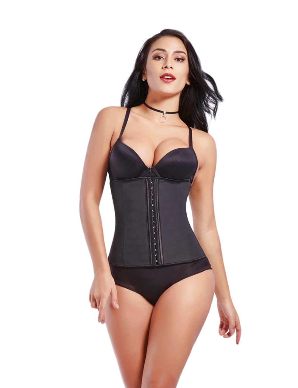 Curvyfeel Invisible 7 Steel Bones Hooks Zipper Latex Underbust Corset