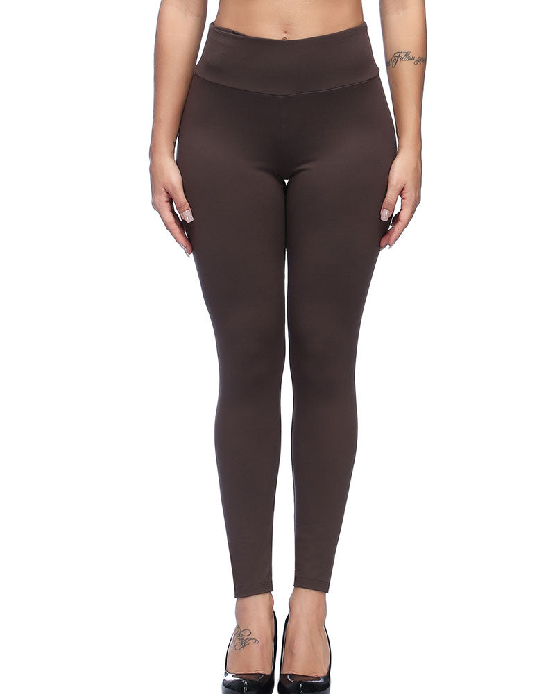 Curvyfeel High Waist Brushed Leggings With Pocket For Ladies