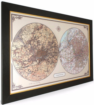 Personalised Duo Century Historic Wall Map