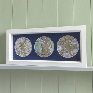 Trio of Personalised Map Circles - Box Framed