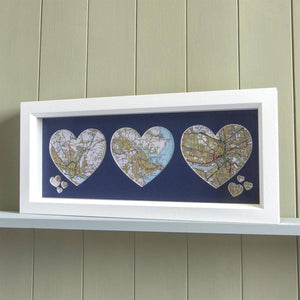 Personalised Trio of Map Hearts - Framed