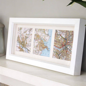 Personalised Trio of Map Squares - Deep Box Frame