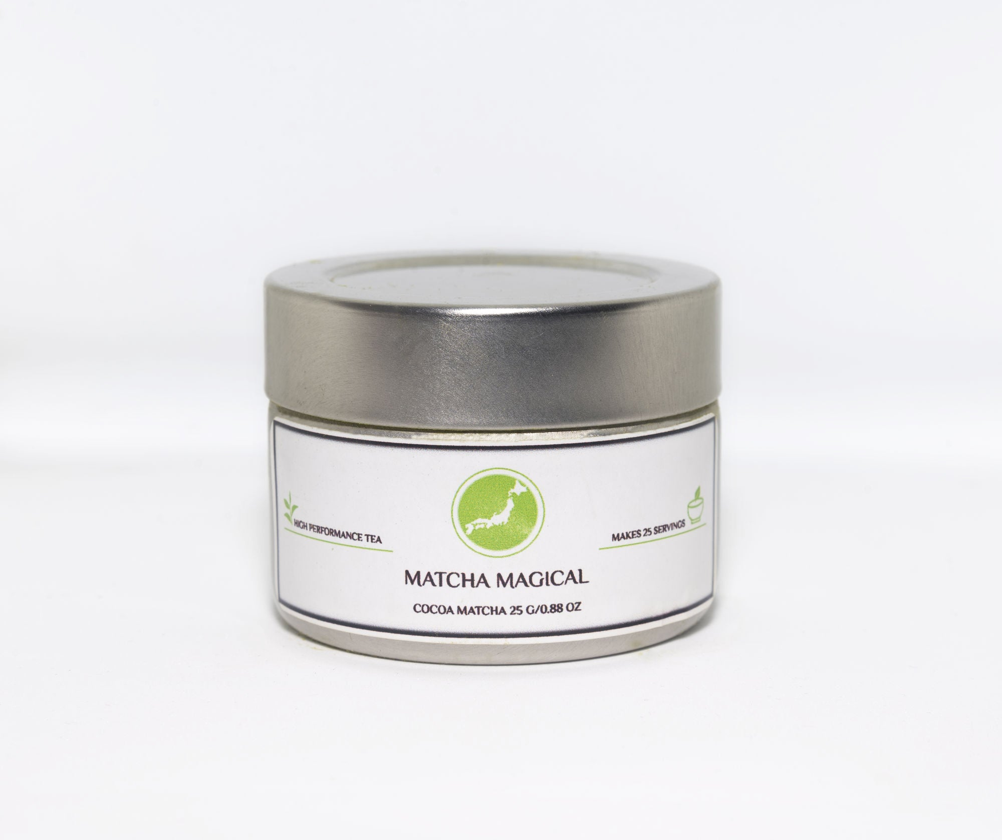 matcha magical cocoa matcha green tea powder in a tin