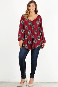 Pretty Pretty Print - Belted Tunic with Paisley Detail - Multiple Colors - Curvy