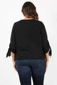 Back in Black- Tailored Button Blouse with Bow Detail - Curvy