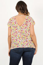 Load image into Gallery viewer, Floral Dreaming - Tie-Front Top with Flirty Sleeves and Open Back Detail - Curvy