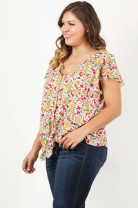 Floral Dreaming - Tie-Front Top with Flirty Sleeves and Open Back Detail - Curvy