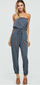 Keepin' It Casual - Soft Terry Strapless Jumpsuit - Multiple Colors Available