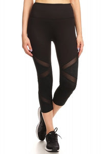 X Marks the Spot - Black Leggings with Mesh Inserts - S to XL