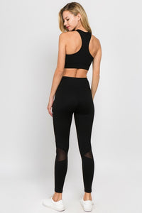 Anything but Basic - Black Bandage Leggings with Mesh Inserts