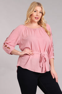 All in the Details- Belted Top with Peek-a-Boo Sleeve Detail - Multiple Colors - Curvy