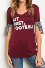 Load image into Gallery viewer, But First, Football - Crimson Game Day Tee