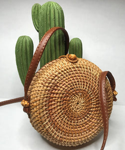 Shore Thing - Round Woven Rattan Handbag