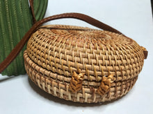 Load image into Gallery viewer, Shore Thing - Round Woven Rattan Handbag