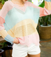 Load image into Gallery viewer, Color Me Pretty - Colorful Sheer Stripe Sweater