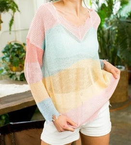 Color Me Pretty - Colorful Sheer Stripe Sweater
