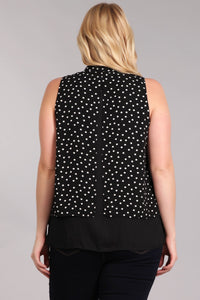 Bringing Happiness - Blouse Tank with Bow Detail and Split Back Opening - Curvy