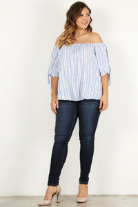 Split Decision- Off Shoulder Top with Split Sleeve - Multiple Colors - Curvy