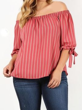 Natural Flirt - Off the Shoulder 3/4 Sleeve Top with Bow Detail - Curvy