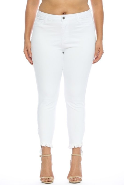 White Hot - Curvy Distressed White Jeans