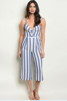 Stripe it Rich - Sleeveless Capri Style Stripe Romper