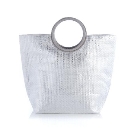 Mirror Mirror - Metallic Silver Cross Weave Tote