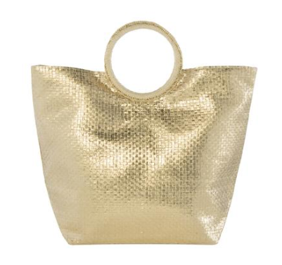 Gold Fever - Metallic Gold Cross Weave Tote