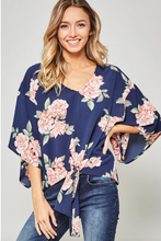 Load image into Gallery viewer, Flower Power - Bold Floral Print Navy Top