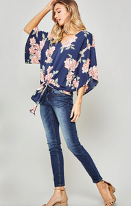 Flower Power - Bold Floral Print Navy Top