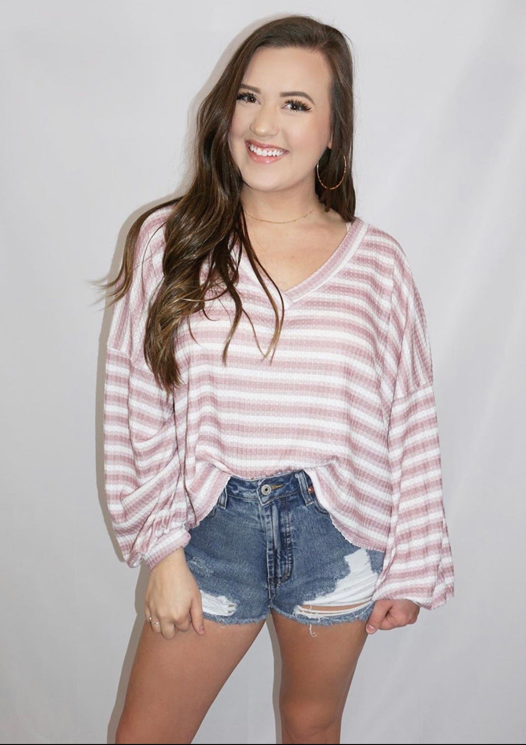Striped In Love- Puff Sleeve Top