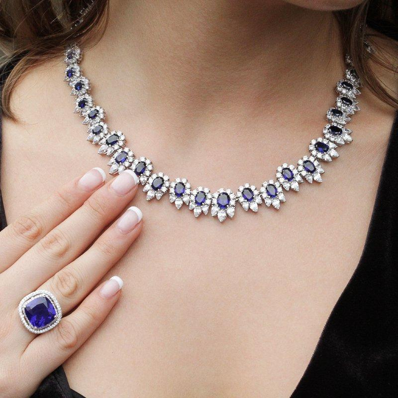 Sapphire Flower Cluster Grand Necklace