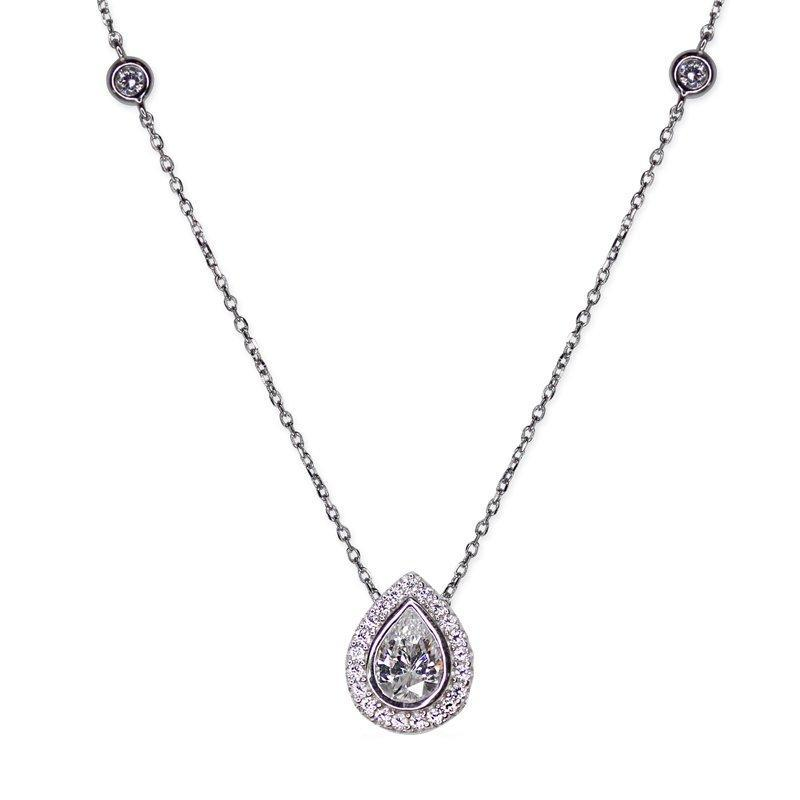 Emile Pear Borderset Pendant Necklace