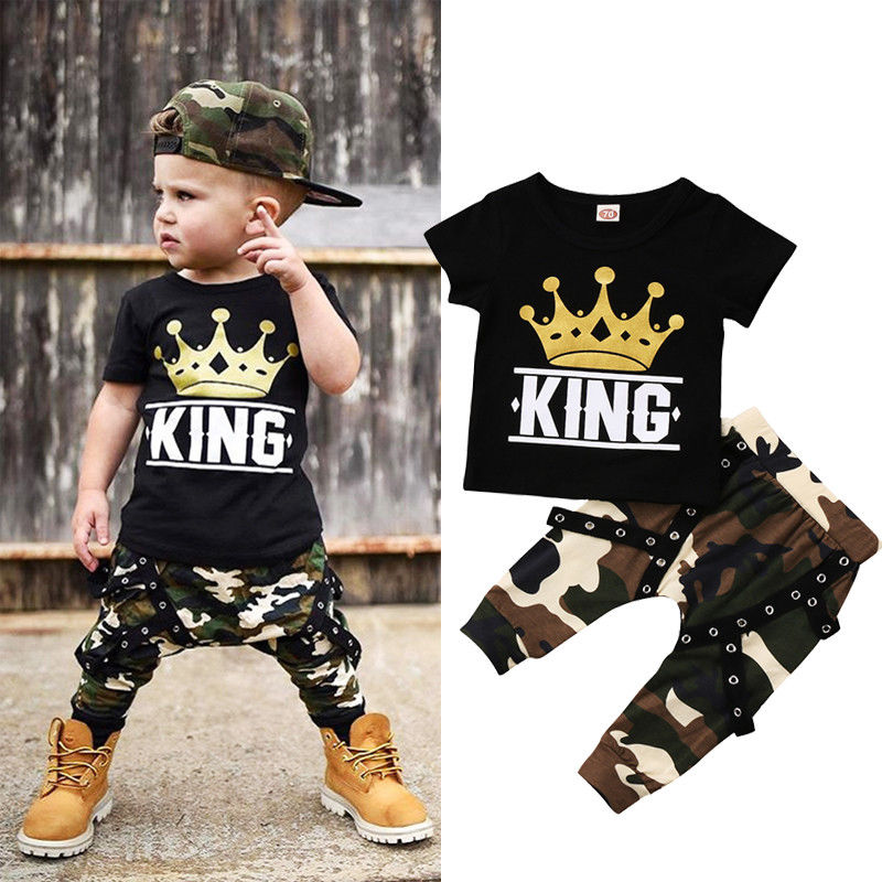 Boy Set 0-5Y  Boys Camo Top & Pants 2PCS Outfits Set