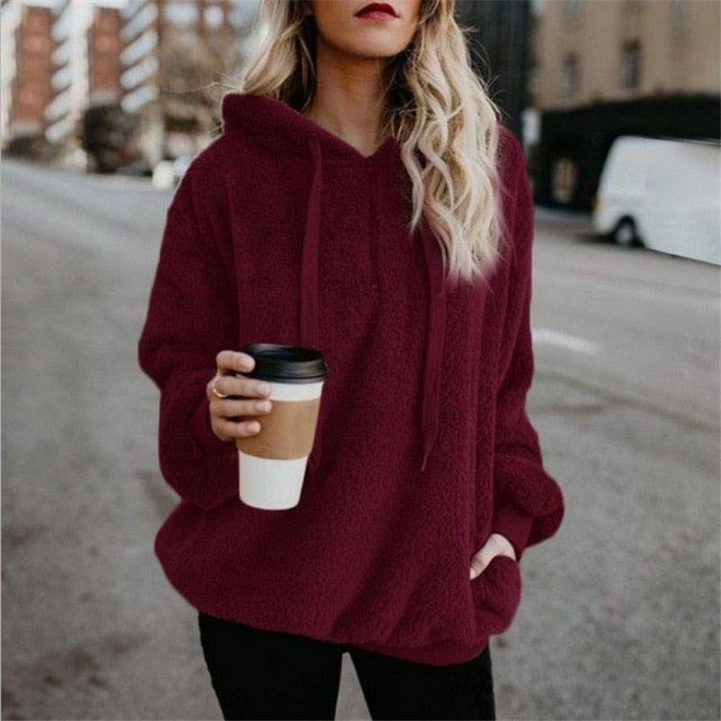 Woman Long-Sleeve Solid Color Hooded Sweatshirt Jacket
