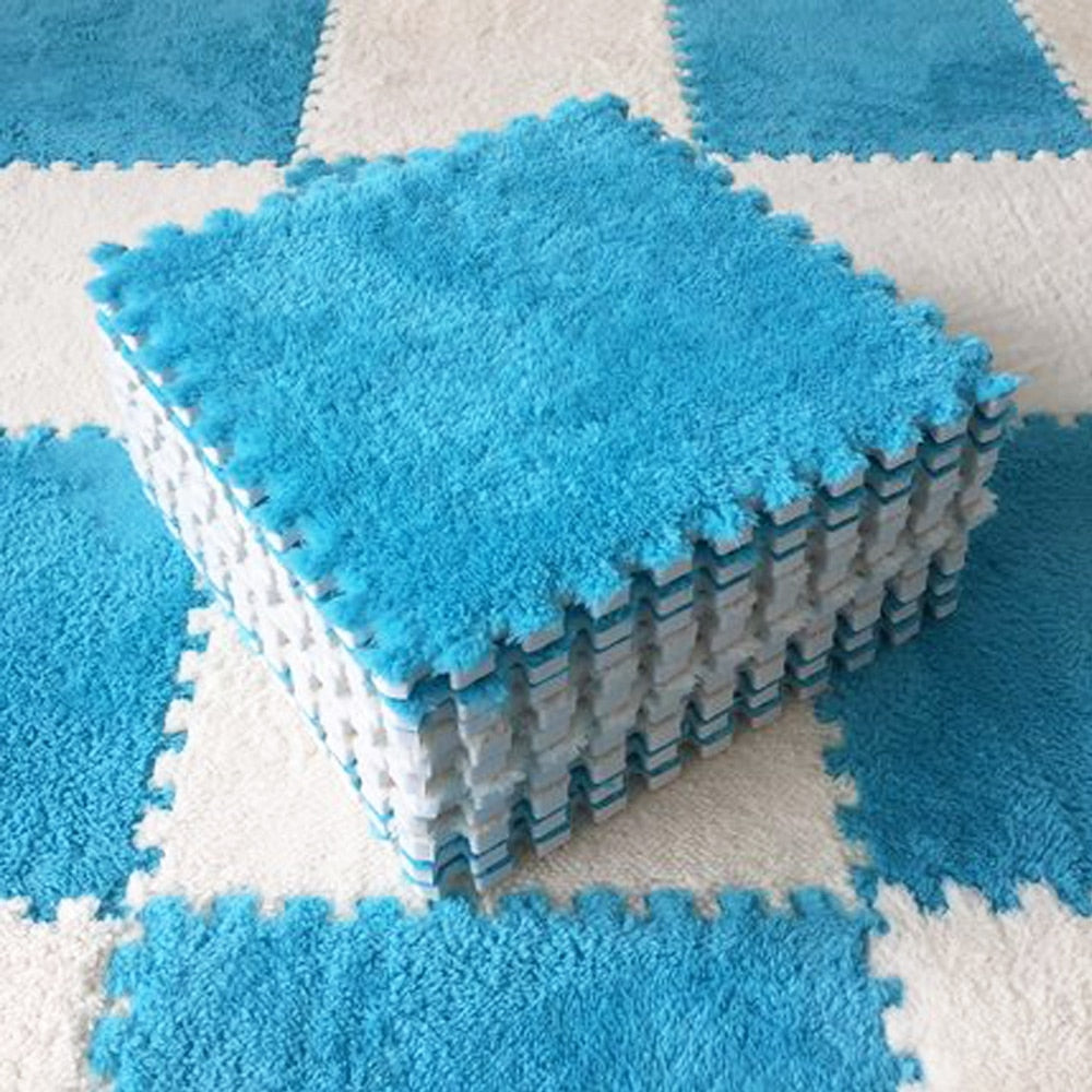 10 Pcs Plush Playing Mat Keep Warm Mat 30*30*0.6cm