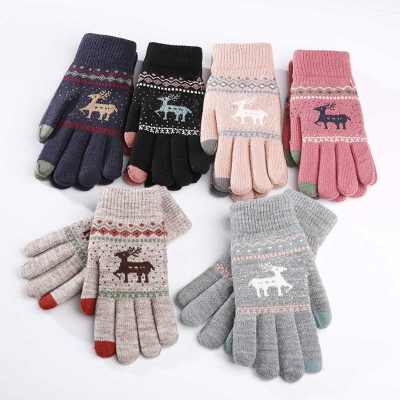 Vintage Deer Knitted Gloves