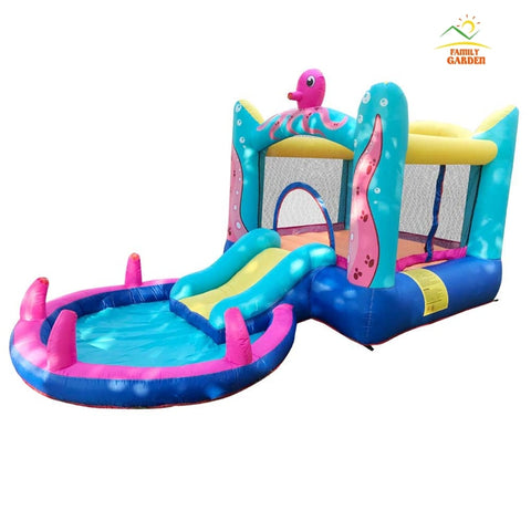 Family Garden Bounce House - Inflatable Bouncer Jumper Water Slide With Air Blower