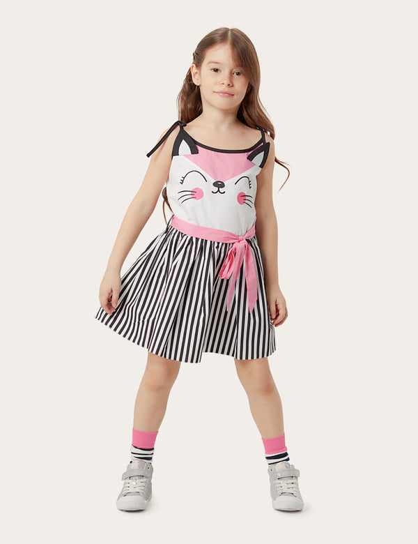 Pink Cat Striped Dress