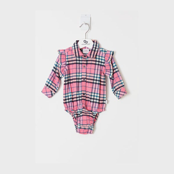 Pink Checked Onesie